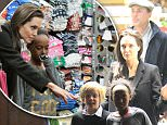 7.JANUARY.2015 - ROME - ITALY\n**NOT AVAILABLE FOR ITALY**\nAMERICAN ACTRESS ANGELINA JOLIE AND CHILDREN ARE SEEN SHOPPING AT A TOY SHOP IN ITALY\nBYLINE MUST READ : XPOSUREPHOTOS.COM\n***UK CLIENTS - PICTURES CONTAINING CHILDREN PLEASE PIXELATE FACE PRIOR TO PUBLICATION ***\n**UK CLIENTS MUST CALL PRIOR TO TV OR ONLINE USAGE PLEASE TELEPHONE  44 208 344 2007 ***