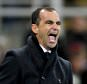 Everton's manager Roberto Martinez looking angry on the touchline