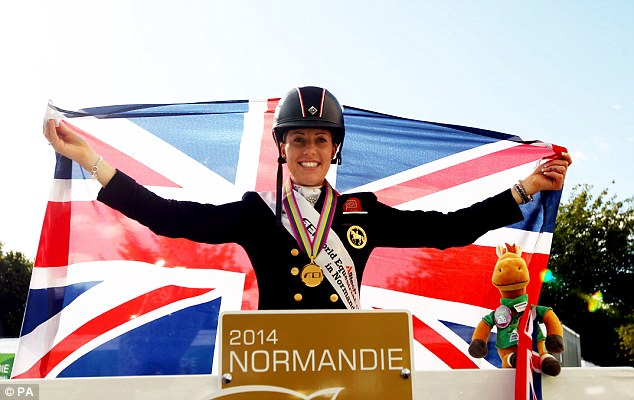Champion: Dujardin also won gold in the Freestyle Grand prix Dressage competition in Caen