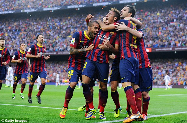 On target: Neymar scored the opening goal in Barcelona's 2-1 win over Real Madrid in October