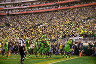 Action during the NCAA Playoff Semi final between Oregon Ducks and Florida State Seminoles at Rose Bowl Stadium, Pasadena, on Jan. 1, 2015.