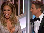 """11 January 2015 - Los Angeles - USA  **** STRICTLY NOT AVAILABLE FOR USA ***  Jeremy Renner stuns Jennifer Lopez with raunchy comment about her breasts as they present an award at the Golden Globes. The pair were on stage to announce the winner of the Best Actor in a TV Mini Series or Movie when Renner made the shocking comment. Lopez was holding the envelope with the winner's name when Renner asked her: """"You wanna open it?"""" J-Lo replied:"""" You want me to? I've got the nailsfor it."""" And without missing a beat as he stared as her chest Renner quipped:"""" You've got the Globes too!"""" Lopez looked momentarily stunned before shrugging and then playfully hitting Renner with the winner's envelope. She then announced the winner - Billy Bob Thornton.   XPOSURE PHOTOS DOES NOT CLAIM ANY COPYRIGHT OR LICENSE IN THE ATTACHED MATERIAL. ANY DOWNLOADING FEES CHARGED BY XPOSURE ARE FOR XPOSURE'S SERVICES ONLY, AND DO NOT, NOR ARE THEY INTENDED TO, CONVEY TO THE USER ANY COPYRIGHT OR LICENSE IN THE MATER"""
