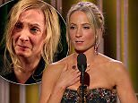 """11 January 2015 - Los Angeles - USA  **** STRICTLY NOT AVAILABLE FOR USA ***  Downtown Abbey star Joanne Froggatt chokes back tears as she wins Golden Globe. The British actress won Best Supporting Actress for her role as Anna Bates in Downton Abbey - and looked stunned as her name was announced. As she took the stage Froggatt said: """"This is the most shocking moment of my life."""" But then Froggatt choked back tears as she revealed she received letters from women after the show's rape storyline and that she hoped one of the women who had written to her would now be heard too, adding: """"AFter this storyline aired I received a number of letters from women who were survivors of rape. One letter summed up the thoughts of many by saying  she wasn't sure why she had wtitten but she just felt in some way that she wanted to be heard. I would just like to say: 'I heard you and I hope saying this so publicly you feel the world hears you.""""     XPOSURE PHOTOS DOES NOT CLAIM ANY COPYRIGHT OR LICENSE"""