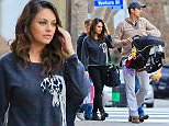 Please contact X17 before any use of these exclusive photos - x17@x17agency.com   Ashton Kutcher and Mila Kunis skip skip the Golden Globes to be with daughter Wyatt and take her to dinner at Granville in Glendale  January 11, 2015 X17online.com