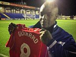 Adebayo Akinfenwa managed to get Steven Gerrard's shirt after the game. #BeastMode ?? pic.twitter.com/nM1LDQaeVd