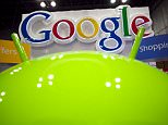 A sign for Google is displayed behind the Google android robot, at the National Retail Federation, in New York.  Google Inc., releases quarterly financial results Thursday, Jan. 19, 2012, after the market close. (AP Photo/Mark Lennihan)