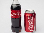 A bottle and a can/tin of Coca Cola