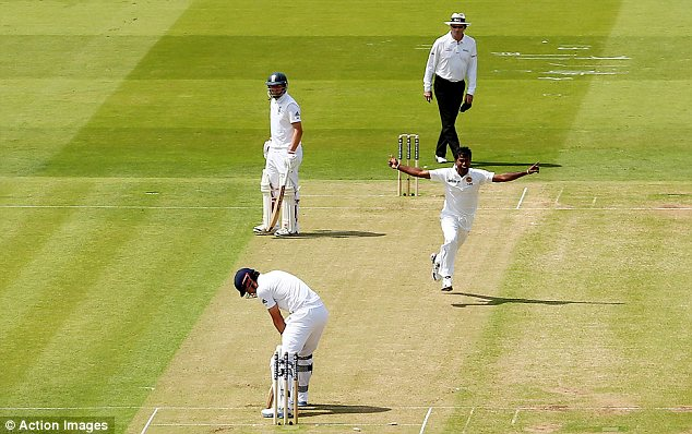 Pressure: England captain Alastair Cook was caught right back in the crease