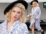 """Actress new mom Scarlett Johansson spotted on the set of """"Hail Caesar!"""" wearing her vintage outfit filming in downtown Los Angeles Ca.\nFeaturing: Scarlett Johansson\nWhere: Los Angeles, California, United States\nWhen: 17 Jan 2015\nCredit: Cousart/JFXimages/WENN.com"""