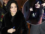 """Vanessa Hudgens is all smiles as she exits the stage door on the opening night of her new musical """"Gigi"""" at the Kennedy Center in Washington DC on January 16, 2015. She reprises the role originally played by Audrey Hepburn on Broadway.  Pictured: Vanessa Hudgens Ref: SPL927363  160115   Picture by: Gene Young / Splash News  Splash News and Pictures Los Angeles: 310-821-2666 New York: 212-619-2666 London: 870-934-2666 photodesk@splashnews.com"""