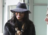 21 Jan 2015 - NEW YORK - USA  NAOMI CAMPBELL WITH A CAST ON HER RIGHT HAND CARRIES HER BAG AS SHE ARRIVES AT JFK AIRPORT IN NYC.  BYLINE MUST READ : XPOSUREPHOTOS.COM  ***UK CLIENTS - PICTURES CONTAINING CHILDREN PLEASE PIXELATE FACE PRIOR TO PUBLICATION ***  **UK CLIENTS MUST CALL PRIOR TO TV OR ONLINE USAGE PLEASE TELEPHONE  44 208 344 2007 ***