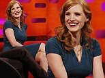 (Left to right) Jessica Chastain, Gary Lineker, and Harry Hill during filming of the Graham Norton Show at the London Studios, in central London. PRESS ASSOCIATION Photo. Picture date: Monday January 19, 2015. Photo credit should read: Jonathan Brady/PA Wire