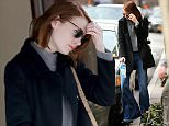 Actress Emma Stone heads to her matinee performance of 'Cabaret', wearing her favorite bell bottom jeans on January 21, 2015 in New York City.  Pictured: Emma Stone Ref: SPL932996  210115   Picture by: Christopher Peterson/Splash News  Splash News and Pictures Los Angeles: 310-821-2666 New York: 212-619-2666 London: 870-934-2666 photodesk@splashnews.com