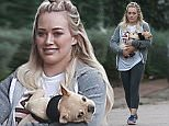 UK CLIENTS MUST CREDIT: AKM-GSI ONLY EXCLUSIVE: Hilary Duff and a friend take her French Bulldog puppy Beau for a walk in Beverly Hills.  Pictured: Hilary Duff Ref: SPL933226  210115   EXCLUSIVE Picture by: AKM-GSI / Splash News