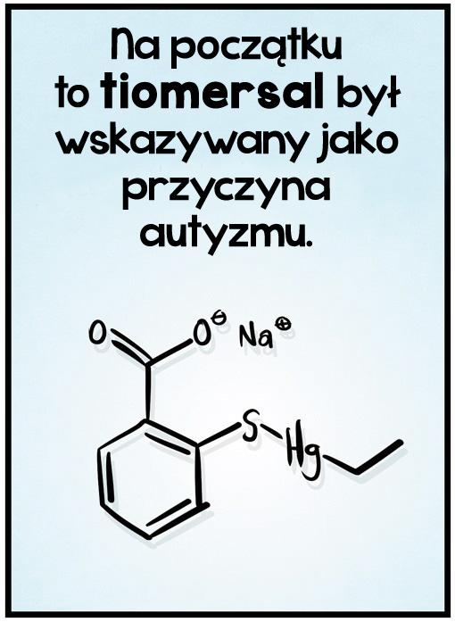 Na początku<br>to tiomersal był<br>wskazywany jako<br>przyczyna<br>autyzmu.