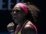 Serena Williams of the U.S. reacts after winning a point against Elina Svitolina of Ukraine during their women's singles third round match at the Australian Open 2015 tennis tournament in Melbourne January 24, 2015. Serena defeated Svitolina to win the match.   REUTERS/Thomas Peter (AUSTRALIA  - Tags: SPORT TENNIS)