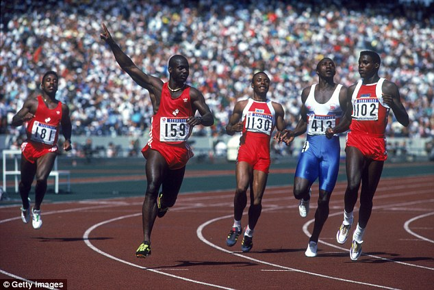 Ben Johnson (second left) failed a doping test after winning Olympic 100 metres gold in Seoul in 1988