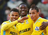 SOUTHAMPTON, ENGLAND - JANUARY 24:  Marouane Chamakh of Crystal Palace (R) celebrates with Wilfried Zaha (L), Fraizer Campbell (2L) and Yaya Sanogo (2R) as he scores their first goal during the FA Cup Fourth Round match between Southampton and Crystal Palace at St Mary's Stadium on January 24, 2015 in Southampton, England.  (Photo by Bryn Lennon/Getty Images)