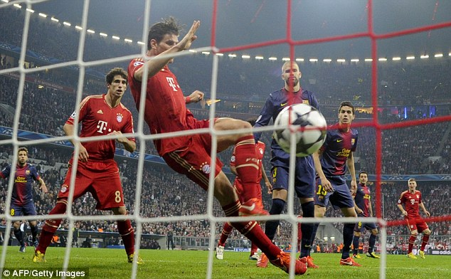 Main man: Gomez helped Bayern reach the Champions League final by seeing off Barcelona in the last four