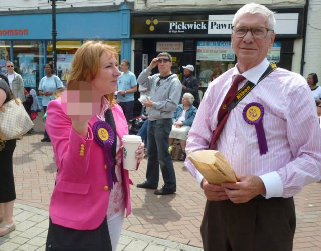 UKIP debate? Janice Atkinson, UKIP's press advisor and 'Farage's number two' who is standing as MEP candidate for South East, responded this way to a peaceful protest in Ashford on Saturday