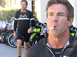 UK CLIENTS MUST CREDIT: AKM-GSI ONLY\nEXCLUSIVE: Dennis Quaid smokes an e-cigarette as he walks back to his car wearing his cycling outfit. \n\nPictured: Christina Schwarzenegger\nRef: SPL936837  260115   EXCLUSIVE\nPicture by: AKM-GSI / Splash News\n\n