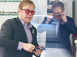 Please contact X17 before any use of these exclusive photos - x17@x17agency.com   Elton John shopping for glasses at LA Eyeworks.  January 27, 2015   X17online.com