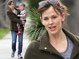 Picture Shows: Jennifer Garner, Samuel Affleck  January 26, 2015    'Draft Day' actress Jennifer Garner takes her son Samuel to grab her morning coffee in Brentwood, California.     Jennifer looked casual in jeans and sneakers while Samuel wore head-to-toe car prints.    Exclusive - All Round  UK RIGHTS ONLY    Pictures by : FameFlynet UK    2015  Tel : +44 (0)20 3551 5049  Email : info@fameflynet.uk.com