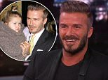 "29 January 2015 - Los Angeles - USA  **** STRICTLY NOT AVAILABLE FOR USA ***  David Beckham reveals how he loves to embarass his kids while daughter Harper thinks he's 'chubby' he revealed on Jimmy Kimmel Live. The former soccer stud was on the show to promote his new line of whiskey, The Haig Club but host Kimmel got him chatting about his family. Beckham admitted that Harper recently stunned him when she told him he was chubby. He revealed: ""i was bathing Harper and had got her out and was toweling her down when she said: 'Daddy I love you but I don't like you, you're so chubby! I didn't think I was but.....!"" Beckham also revealed that he loves to embarass his sons while dropping them off on the school run. He recently got oldest son Brooklyn after the teen, who turns 16 in March, asked to be dropped off round the corner from the school. Beckham said: ""He asked me to park around the corner and then walked round but I followed him and opened the window and shouted:"" Brooklyn I love"