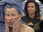 ****Ruckas Videograbs****  (01322) 861777 *IMPORTANT* Please credit Channel 5 for this picture. 20/01/15 Celebrity Big Brother DAY 14 SEEN HERE: (In scenes shown on last night's Big Brother's Bit On The Side) Alicia Douvall exposes her breasts and allows Katie Hopkins and Michelle Visage to touch and prod them as they talk about how Alicia's boobs look too big for her small frame, in the bathroom yesterday morning Grabs from overnight in the CBB house Office  (UK)  : 01322 861777 Mobile (UK)  : 07742 164 106 **IMPORTANT - PLEASE READ** The video grabs supplied by Ruckas Pictures always remain the copyright of the programme makers, we provide a service to purely capture and supply the images to the client, securing the copyright of the images will always remain the responsibility of the publisher at all times. Standard terms, conditions & minimum fees apply to our videograbs unless varied by agreement prior to publication.