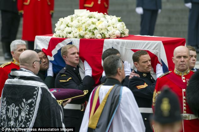 Important role: L/Cpl Steel (pictured second left) was a pallbearer at Margaret Thatcher's funeral last year