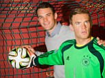 The wax-work figure mimics Neuer's distribution from a throw at last summer's World Cup