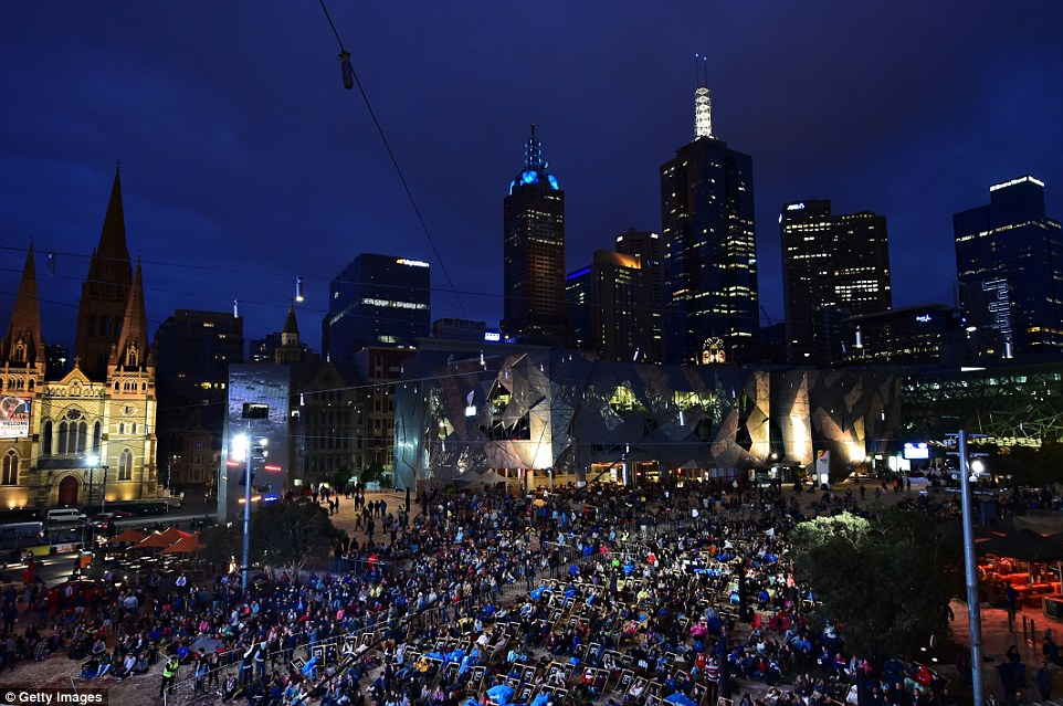 Crowds gathered at Federation Square in Melbourne to watch the final on big screens