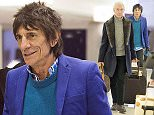 01.FEBRUARY.2015 - NEW YORK - USA *** EXCLUSIVE ALL ROUND PICTURES *** CHARLIE WATTS AND RONNIE WOOD FROM THE ROLLING STONES ARE SEEN ARRIVING AT JFK AIRPORT IN NEW YORK CITY. BYLINE MUST READ : XPOSUREPHOTOS.COM ***UK CLIENTS - PICTURES CONTAINING CHILDREN PLEASE PIXELATE FACE PRIOR TO PUBLICATION *** **UK CLIENTS MUST CALL PRIOR TO TV OR ONLINE USAGE PLEASE TELEPHONE  44 208 344 2007**