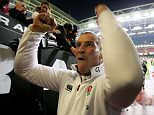 CARDIFF, WALES - FEBRUARY 06:  Stuart Lancaster the head coach of England celebrates following his team's 21-16 victory during the RBS Six Nations match between Wales and England at the Millennium Stadium on February 6, 2015 in Cardiff, Wales.  (Photo by David Rogers - RFU/The RFU Collection via Getty Images)