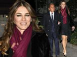 Italian designer Valentino and partner Giancarlo Giammetti with actress Elizabeth Hurley, arrive at private party in Madrid.  Ref: SPL943720  050215   Picture by: Splash News  Splash News and Pictures Los Angeles: 310-821-2666 New York: 212-619-2666 London: 870-934-2666 photodesk@splashnews.com