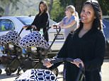 132292, A barefaced Zoe Saldana seen out in Franklin Canyon Park with her nanny and newborn twins, Cy and Bowie. Los Angeles, California - Friday February 6, 2015. Photograph: Juan Sharma/Bruja, © PacificCoastNews. Los Angeles Office: +1 310.822.0419 sales@pacificcoastnews.com FEE MUST BE AGREED PRIOR TO USAGE