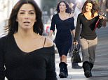 Picture Shows: Eva Longoria  February 05, 2015    Actress Eva Longoria spotted on the set of a L'Oreal Paris commercial in Malibu, California. Eva dressed casually in a black top and grey sweatpants.    Non-Exclusive  UK RIGHTS ONLY    Pictures by : FameFlynet UK    2015  Tel : +44 (0)20 3551 5049  Email : info@fameflynet.uk.com