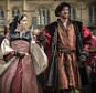 Television Programme Name: Wolf Hall - Picture Shows: (L-R) Anne Boleyn (CLAIRE FOY), King Henry VIII (DAMIAN LEWIS) - (C) Company Productions Ltd - Photographer: Ed Miller