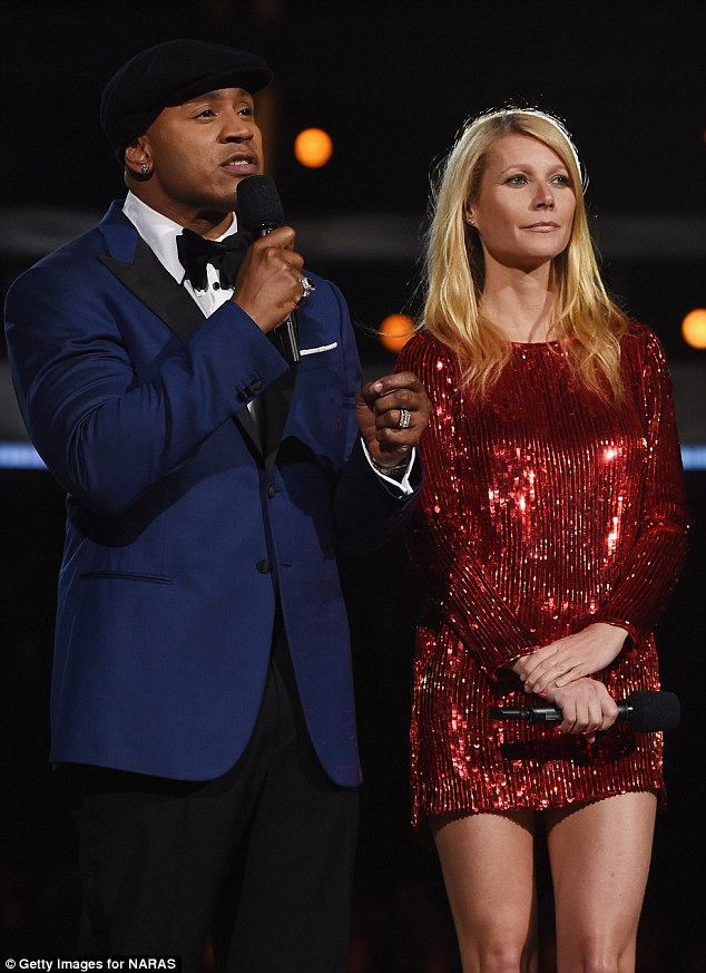 Eye-catching: Gwyneth stood out in her shimmery sequin dress as she introduced good friend Beyonce