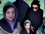 EXCLUSIVE ***FEE MUST BE AGREED BEFORE ANY PRINT OR ONLINE USAGE***  Angelina Jolie is seen arriving at London's Heathrow airport with her children Shiloh Nouvel Jolie-Pitt and Vivienne Marcheline Jolie-Pitt, 8 February 2015. 8 February 2015. Please byline: Vantagenews.co.uk UK clients should be aware children's faces may need pixelating.