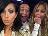 "09.02.15 Kim Kardashian writes: ""This is the Beck won that award face?!?!?! "" Pictured: Kim Kardashian, John Legend and Chrissy Teigen PLANET PHOTOS www.planetphotos.co.uk info@planetphotos.co.uk +44 (0)20 8883 1438"