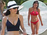 132376, Skinny Girl Bethenny Frankel shows off her ample cleavage and slim figure in a navy blue bikini while out for a walk in Miami. The 'Real Housewives of NYC' star wore a navy blue and white bikini and a large white sunhat as she took a walk along the boardwalk. On returning to her hotel, Bethenny appeared to have cellulite on her behind, and the label sticking out from her bikini top.  Miami, Florida - Sunday February 08, 2015. Photograph: Brett Kaffee/Thibault Monnier,      Pacific Coast News. Los Angeles Office: +1 310.822.0419 London Office: +44 208.090.4079 sales@pacificcoastnews.com FEE MUST BE AGREED PRIOR TO USAGE