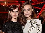 HOLLYWOOD, CA - NOVEMBER 14:  Actresses Felicity Jones (L) and Keira Knightley attends the 18th Annual Hollywood Film Awards at The Palladium on November 14, 2014 in Hollywood, California.  (Photo by Frazer Harrison/Getty Images for DCP)