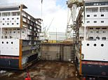 MSC Sinfonia cruise ship at the Fincantieri shipyard in Palermo, Sicily is being stretched. Used with permission