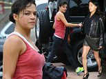 UK CLIENTS MUST CREDIT: AKM-GSI ONLY\nEXCLUSIVE: **SHOT ON 2/7//15** Actress Michelle Rodriguez swiftly jogs to her car after an intense workout session to avoid the rain.  The 'Fast and Furious' actress recently attended Levi's x Snoop Dogg + Friends Pre-Grammy Party held at the Hollywood Palladium on Thursday in Hollywood and it appears that the pretty brunette is getting her workout in before the Grammy Awards.\n\nPictured: Michelle Rodriguez\nRef: SPL946060  080215   EXCLUSIVE\nPicture by: AKM-GSI / Splash News\n\n