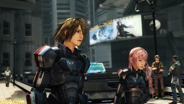 Final Fantasy XIII-2's Mass Effect 3 N7 Armour Collaborative Costumes