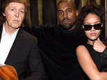 LOS ANGELES, CA - FEBRUARY 08:  Paul McCartney, Kanye West and Rihanna attend The 57th Annual GRAMMY Awards at STAPLES Center on February 8, 2015 in Los Angeles, California.  (Photo by Kevin Mazur/WireImage)