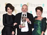 Mandatory Credit: Photo by David Fisher/REX (4418642ay)  Mike Leigh, Fellowship Award winner with Sally Hawkins and Imelda Staunton  EE BAFTA British Academy Film Awards, Press Room, Royal Opera House, London, Britain - 08 Feb 2015