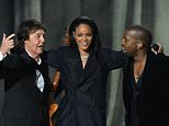 Paul McCartney, Rihanna and Kanye West share the stage at the 57th Annual Grammy Awards in Los Angeles February 8, 2015. AFP PHOTO / ROBYN BECKROBYN BECK/AFP/Getty Images