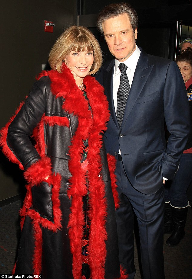 So unlike you! Anna Wintour, left, flashed her pearly whites and ditched her sunglasses as she posed with Colin Firth, right, at the Kingsman: The Secret Service film premiere in New York on Monday
